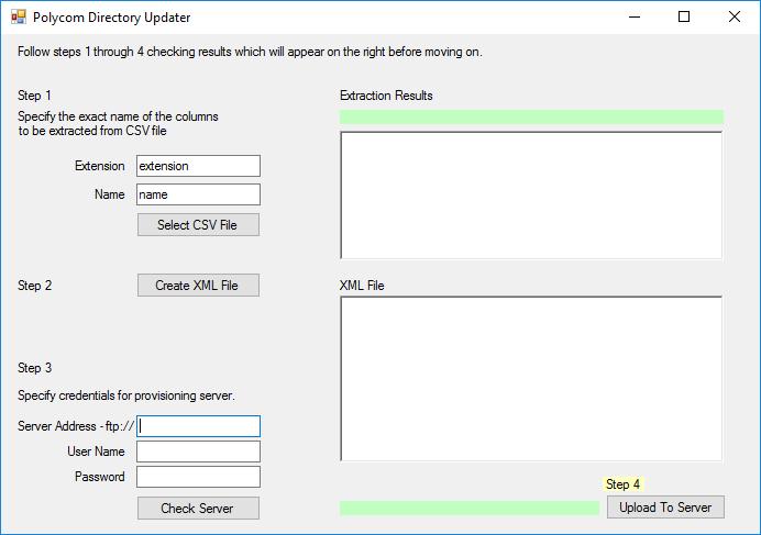Polycom Directory Updater Screen Capture